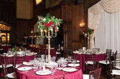Reception Dinner Decor Tall Candlestick Centerpieces Burgundy Tablecloths | kohl-mansion-san-francisco-wedding-photography-aaronjaclyn