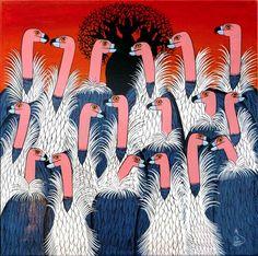Vultures, by Zubeiri -- Tingatinga Bird Illustration, Illustrations, Painting Workshop, Unique Paintings, Enamel Paint, Ceramic Painting, Tanzania, Artists, Pocket