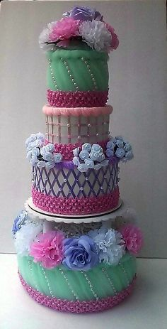 Mint Green Light Pink and Purple 4 Tier Wedding Diaper Cake Baby Girl Shower