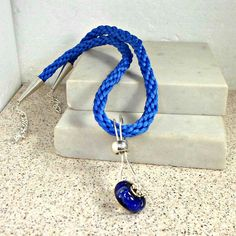 Bobs Flame Beads Handmade blue big hole on  Kumihimo necklace by Pat2 #Pat2 #Pendant