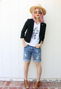 boyfriend shorts DIY // #pinkhair #tomboy