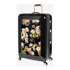 Large opulent bloom suitcase ($380) ❤ liked on Polyvore featuring bags and luggage