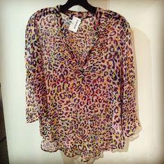 Velvet neon leopard blouse!