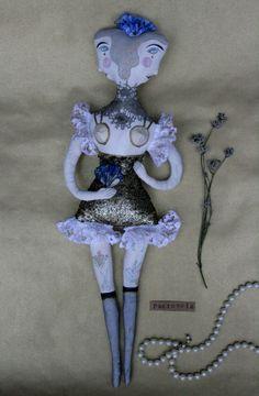 Miss Sugar textile art doll soft sculpture Victorian Burlesque circus