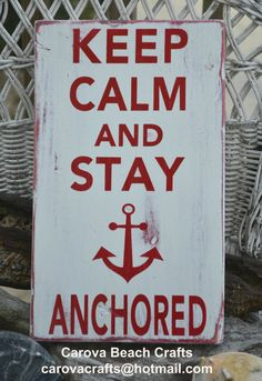 Beach Decor, Anchor Decor, Nautical, Beach Sign, Coastal Sign, Anchor Sign, Keep Calm Stay Anchored, Hand Painted, Wood Sign on Wanelo