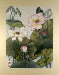 Lotus in the Morning Mist ~ Pen and watercolor