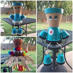 Terra Cotta Pot People - Deco How to Crafts Flower Pot Art, Flower Pot Crafts, Vase Crafts, Clay Pot Crafts, Terracotta Flower Pots, Clay Flower Pots, Ceramic Flower Pots, Clay Pots, Ceramic Pots