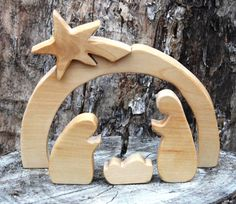 Solid Birch 5-Piece Natural Wood Nativity Set