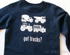 If you have a kid who loves trucks, this is such a fun shirt idea!
