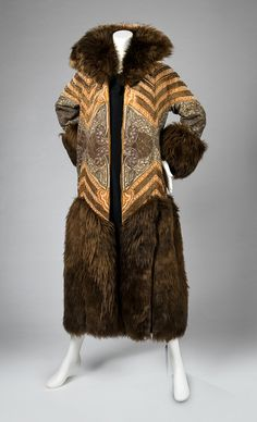 Coat, silk and metallic thread with fur and faux pearls, Paul Poiret designer, French, 1922