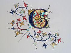 Illuminated Letter 'G' Medieval Manuscript, Medieval Art, Alphabet Art, Letter Art, Illuminated Letters, Illuminated Manuscript, Illumination Art, Fancy Letters, Doodle Art
