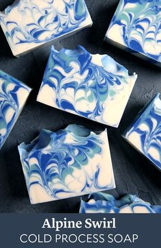 New Alpine Frost Fragrance Oil will be your go-to winter scent. The notes of eucalyptus, sparkling icicle, amber, and musk inspired this cold process soap. Diy Savon, Savon Soap, Melt And Pour, Homemade Soap Recipes, Soap Packaging, Lotion Bars, Cold Process Soap, Soap Molds, Home Made Soap