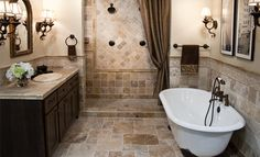 Classic Travertine Bathroom. I am freakishly in love with travertine.