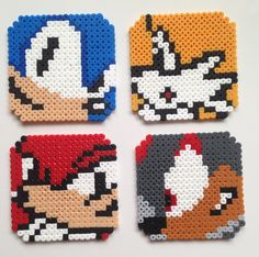 Set of Sonic the Hedgehog cork backed coasters made from Hama beads. Dimensions are approx x inches Due to the nature of hama beads, Perler Beads, Hama Beads Coasters, Perler Bead Art, Fuse Beads, Perler Bead Designs, Perler Bead Templates, Hama Beads Design, Melty Bead Patterns, Pearler Bead Patterns