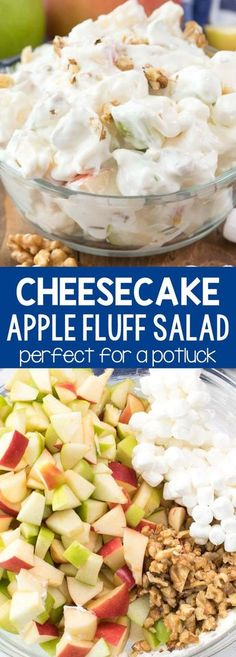 Low Unwanted Fat Cooking For Weightloss Cheesecake Apple Salad - This Easy No Bake Dessert Salad Recipe Combines Apple Salad And Cheesecake Fluff Apples Are Mixed With Marshmallows, Nuts, And A No-Bake Cheesecake For The Perfect Party Side Dish. Fluff Desserts, Easy No Bake Desserts, Köstliche Desserts, Health Desserts, Easy No Bake Recipes, Easy Delicious Desserts, Easy Desserts For Kids, Holiday Desserts, Dessert Party