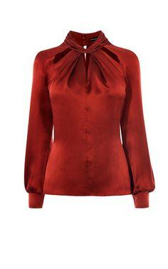 Karen Millen, KNOT NECKLINE TOP Dark Red