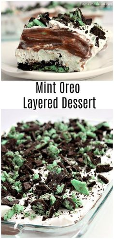 This Mint Oreo Lasagna is layers of Mint Oreo, chocolate pudding, cream cheese, and Cool whip that make a delicious no bake mint oreo layered dessert that is a fun recipe dessert recipe for St. Patrick's Day! This Mint Oreo Lasagna is layers of Mint Oreo, Mini Desserts, Layered Desserts, Chocolate Desserts, Just Desserts, Chocolate Pudding, Delicious Chocolate, Mint Chocolate, Chocolate Lovers, Cool Whip Desserts