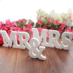 DGQ MR & MRS Wooden Letters for Wedding Decoration Present, Table Top Decoration White): Great decoration or present for wedding. Mr is 7 inches in length ; & is 3 inches in length ; Mrs is inches in length . All are inches high approx. Wedding Reception Favors, Wedding Ceremony Decorations, Wedding Centerpieces, Wedding Table, Wedding Ideas, Trendy Wedding, Diy Wedding, Pallet Wedding, Reception Signs