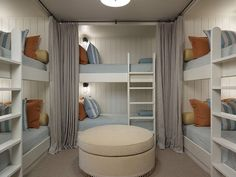 Bunk Room. Six Bun Beds in Bunk room. Bunk Room Layout. Bunk Bed Layout. #BunkRoom #BunkBeds #Layout Hickman Design Associates.