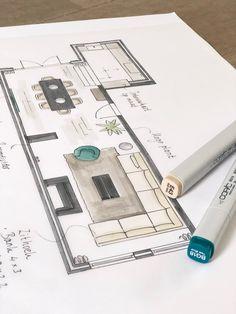 We tekenen veel voor onze opdrachtgevers. En dat blijft zó leuk om te doen! Het werkt ook heel prettig om gewoon 'ouderwets' te tekenen tijdens een interactief interieuradvies. Omdat je als opdrachtgever bij het ontwerpproces betrokken bent, kun je namelijk direct feedback geven. Zo schakelt het lekker snel! Soms blijft het bij een tekening, maar regelmatig verwerken we onze plannen ook nog in een digitale 3D tekening. Ieder ontwerpproces is anders, een proces op maat. Dus het blijft leuk… Architecture Symbols, Architecture Concept Drawings, Architecture Collage, Architecture Student, Architecture Plan, Interior Architecture, Interior Design Sketches, Interior Design Services, Floor Plan Sketch