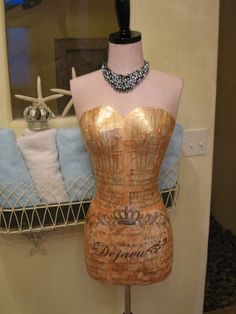 Vintage Inspired Dress Form Mannequin Art With by autumnlady18, $299.00