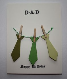 Ties and pegs Masculine Birthday Cards, Birthday Cards For Men, Handmade Birthday Cards, Masculine Cards, Scrapbook Paper Crafts, Scrapbook Cards, Cute Cards, Diy Cards, Fathers Day Crafts
