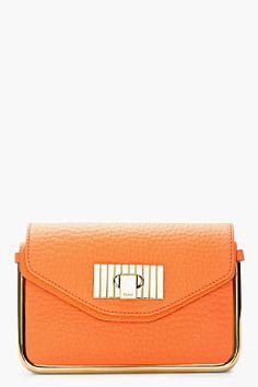 CHLOE Orange Fizz Leather Sally Clutch