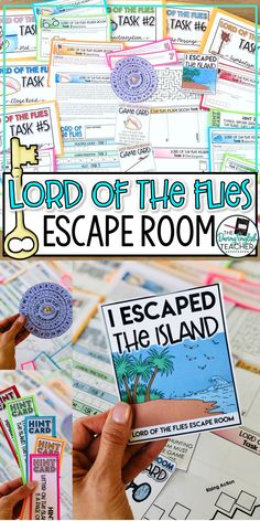Lord of the Flies Escape Room Activity Close Reading Activities, English Activities, Reading Centers, Kids Reading, Teaching Secondary, Secondary School, William Golding, British Literature, English Lessons