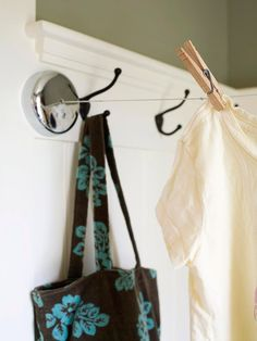 Back Door: Get Hooked: To cut down on dry cleaning we often no-dry delicate pants and shirts, which need to be hung up. Getting one of these to put over in the kitchen nook would be great to hang the clothes.