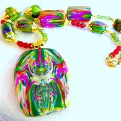 Orchid, Ruby, Green Picture Panel PollyCeramica Signed Beaded Necklace | craftsofthepast - Jewelry on ArtFire @Anna Garner