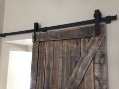 Our rustic Z Barn door in weathered Expresso. Handmade by GOATGEAR right here in the Okanagan. Interior Sliding Barn Doors, Curtains, Rustic, Handmade, Design, Home Decor, Country Primitive, Blinds, Hand Made