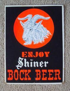 Vintage Shiner Bock Beer Heavy Cardboard Tacker Neon Ram Sign