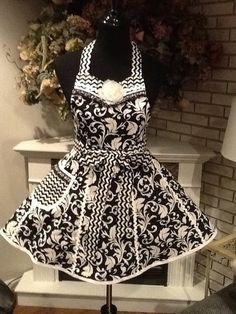 WANT! for NYE party!   Gorgeous Retro Black White Chevron Damask by MothersApronString