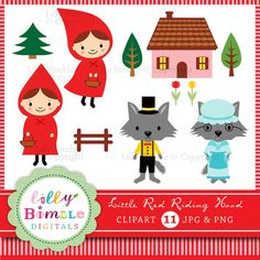 Little Red Riding Hood  Fairytale clipart for design and craft.  Each image is saved individually as a high resolution JPG and PNG. The PNGs have transparent backgrounds so they can be dropped on different backgrounds if needed.