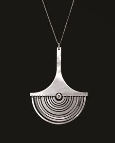 TAPIO WIRKKALA, Kuunsirppi (Crescent Moon) pendent, model no. designed in Hand cut and formed precious metal. Serially produced by Nils Westerback, Finland. Metal Jewelry, Pendant Jewelry, Jewelry Art, Silver Jewelry, Jewelry Accessories, Jewelry Design, Unique Jewelry, Schmuck Design, Designer