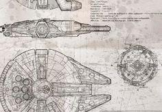 Millennium Falcon Blueprint Whiteprint Edition by BiglinGraphics Millennium Falcon Blueprint, Millenium Falcon, Spaceship Craft, Nave Star Wars, Star Wars Han Solo, Star Trek, Ribba Frame, Poster Art, Star Wars Ships