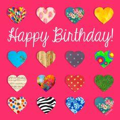 Vrolijke roze verjaardagskaart met kleurrijke hartjes op de voorkant. Je kan je eigen tekst aan de binnenzijde toevoegen.