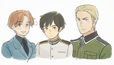 A cute depiction of Hetalia's Axis Alliance drawn in Ghibli's style. (As drawn by the ever wonderful Cioccolatodorima on DeviantArt.)