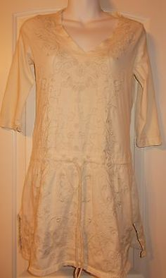 Johnny Was Off White Embroidered Drawstring Waist Gorgeous Sz XS JW Los Angeles