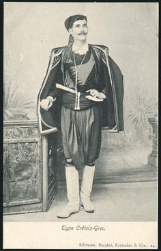 Traditional (Greek) costume from Crete. Late-Ottoman era, end of century. (Crete was a part of the Ottoman Empire until Crete Island Greece, Greece Islands, Greek Traditional Dress, Traditional Outfits, Old Greek, Ancient Greek, Greek Independence, Old Portraits, Greek History