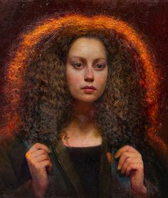 """Andrea"" - Steven Assael (b. 1957), oil on canvas, 2014 {figurative art instructor beautiful female head curly hair woman face portrait painting} stevenassael.com"