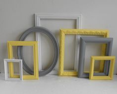 $72 Picture Frame Collection - Vintage Ornate Cottage Chic - Painted Yellow Grey Gray And White - Gallery Wall - Modern Home Decor (perfect for the wall with the tv - either can we left empty or can be used for photos | NY Interior Designer Jared Epps jaredshermanepps.com