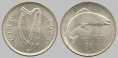 1943 Republic of Ireland Florin (Eire) Old Coins, Rare Coins, Coin Value Chart, Irish Flute, Old Irish, Coin Design, Coin Prices, Coin Values, Old Money
