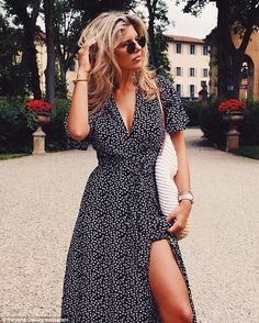 Poser: Natasha Oakley flashed her toned thighs in a high slit gown in a photo shared on In...