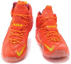 reputable site 0fecc 56ed2 Nike Lebron 12 Red Orange Gold Baksteball Shoe0 Nike Lebron, Baskets, Cher,  Red