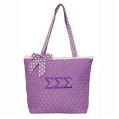 Sigma Sigma Sigma quilted tote bag