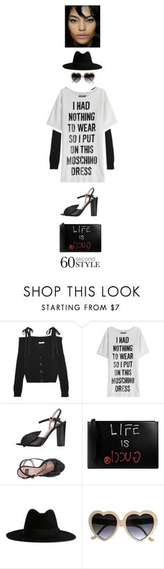 """""""DIFFERENT STYLE 2"""" by cheroro ❤ liked on Polyvore featuring Adeam, Moschino, Boutique Moschino, Gucci, Yves Saint Laurent, tshirtdresses and 60secondstyle"""