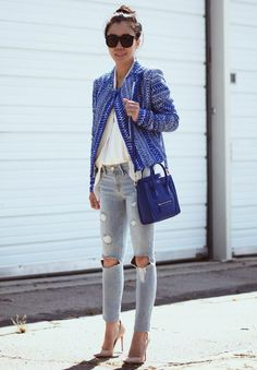 6d492fc90d9a Blue Tweed Jacket and Ripped Jeans (Hallie Daily)