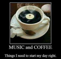 Music and Coffee. Coffee Meme, Coffee Talk, Coffee Quotes, Coffee Break, Coffee Cups, Funny Coffee, Coffee Music, Coffee And Books, Vinyl Junkies