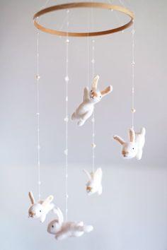 Custom Nursery Mobile With An Extra White Bunny Crib